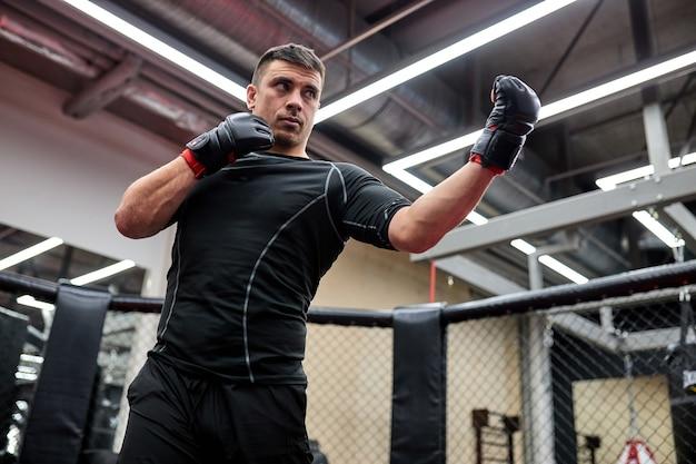 Boxer, blanke man vechten of poseren in handschoenen. fitness- en boksconcept. individuele sportrecreatie. sterke fit man die zich bezighoudt met sport, kickboksen