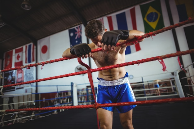 Boxer poseren na nederlaag