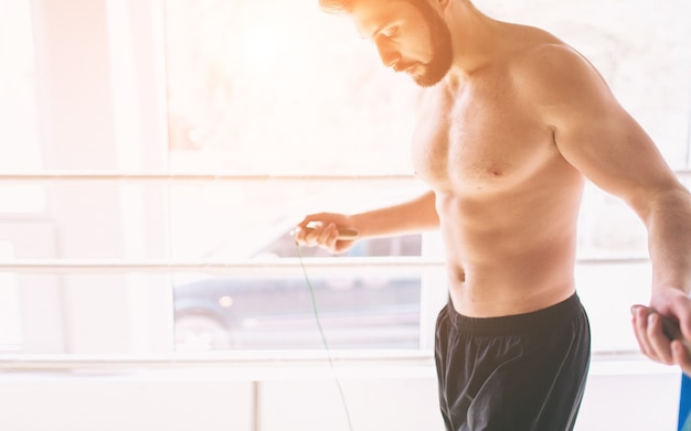 Boxer springtouw training, krachttraining concept