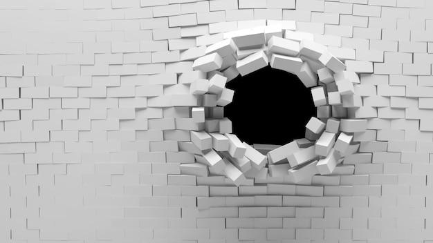 Brak bakstenen muur met een gat