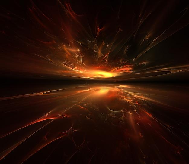 Brand fractal horizon achtergrond voor uw project