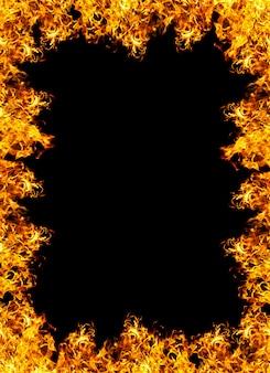 Brand frame op een zwarte achtergrond