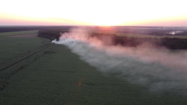 Brand op een stortplaats met afval in de buurt van landbouwvelden. rook op de achtergrond van een zonsondergang.