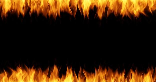 Brand vlam frame grens op zwarte achtergrond