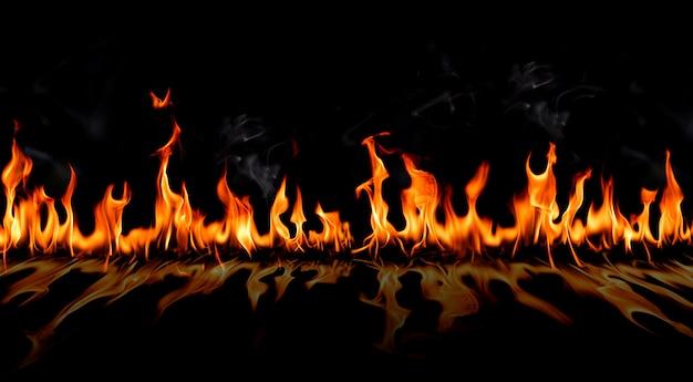 Brand vlammen met schaduw en rook