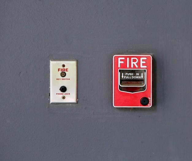 Brandalarm schakelaar op de muur