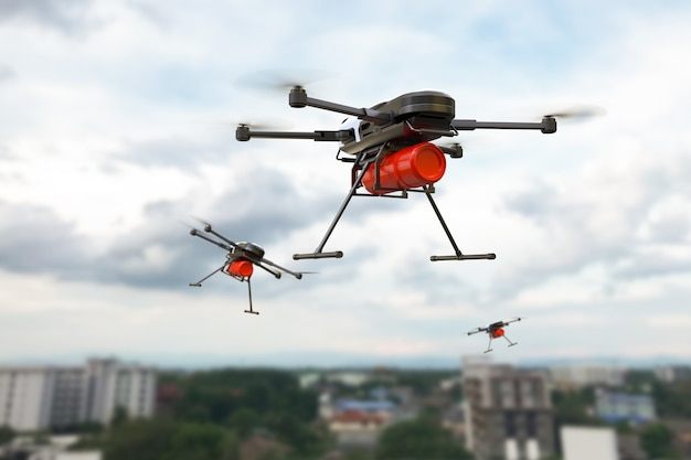 Brandbestrijding drone concept, brand blussen met drone. 3d illustratie