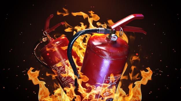 Brandblusser op een brand achtergrond 3d-rendering