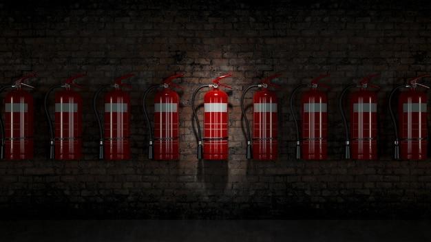 Brandblusser vast op bakstenen muur