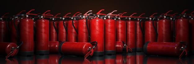 Brandblusser vast op donkere achtergrond 3d-rendering