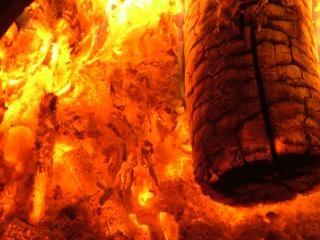 Brandend blok hout