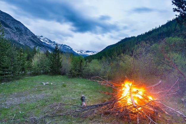 Brandend kampvuur in afgelegen lariks en pijnboombos met dramatische hemel in de schemering