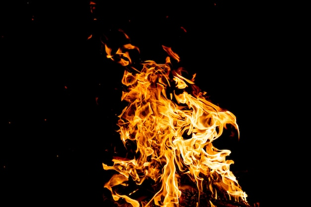 Brandende bossen met vuurspatten, vlammen en rook 's nachts.