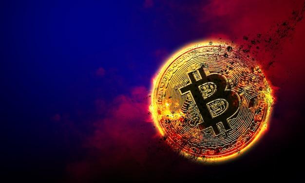 Brandende gouden bitcoin munt in rode rook achtergrond