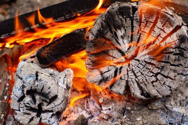 Brandende houtskool op een barbecue, sintels in het vuur, sintels, vuur, kampvuur, sintels achtergrond