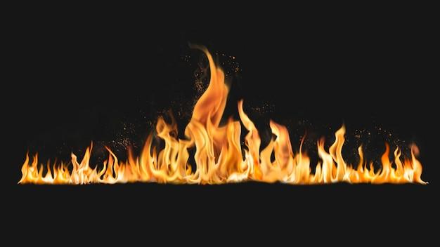 Brandende vlam bureaubladachtergrond, realistisch vuurbeeld