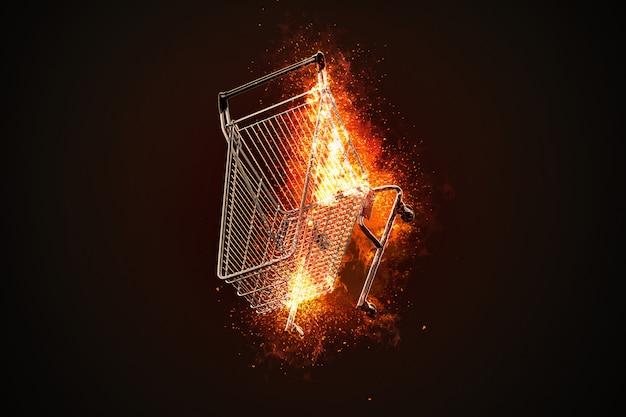 Brandende winkelwagen