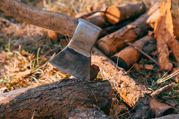 Brandhout en bijl in hout. bijlmes en veel brandhout, boom, bos, splitsen, knippen, brandstof, werk, industrie, materiaal, ruw, warmte, hernieuwbaar, zaag, bosbouw, snijbestendig