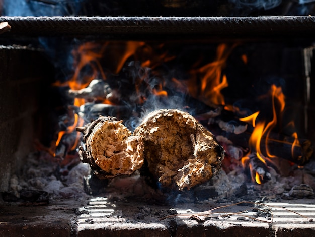 Brandhout in de grill