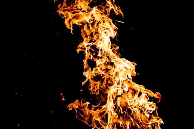 Brandhout met vuurspatten, vlam op zwarte achtergrond.