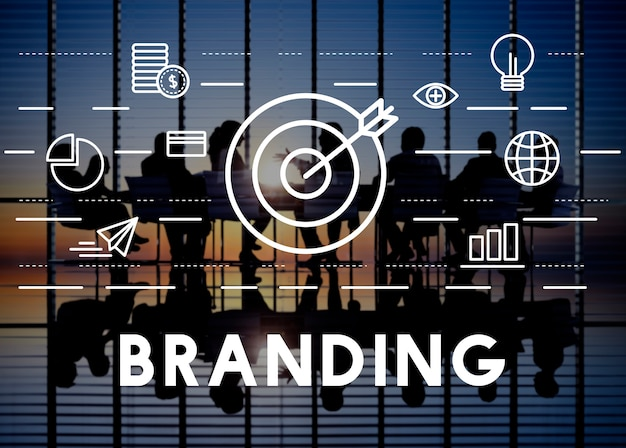 Branding advertentie copyright value profile concept