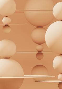Branding en minimale presentatie. beige kleurenbol en cirkelvormig vlak op beige muur. 3d-rendering illustratie.