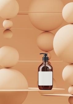 Branding en minimale presentatie. cosmetische fles op beige kleur cirkelvormig vlak en bol op beige muur. 3d-rendering illustratie.