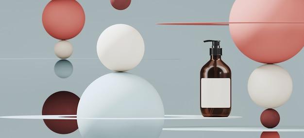 Branding en minimale presentatie. cosmetische fles op rode en blauwe kleur bol en cirkelvormig vlak op blauwe muur. 3d-rendering illustratie.