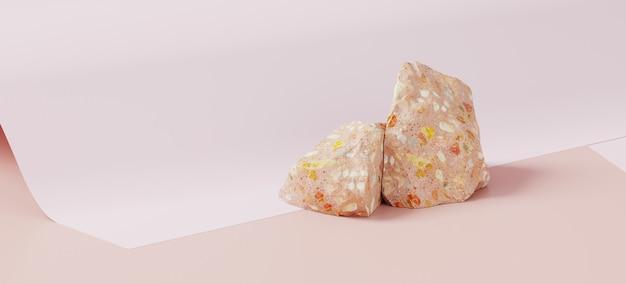 Branding en productpresentatie. cosmetische fles en terrazzo op roze papieren roloppervlak. 3d-rendering illustratie.