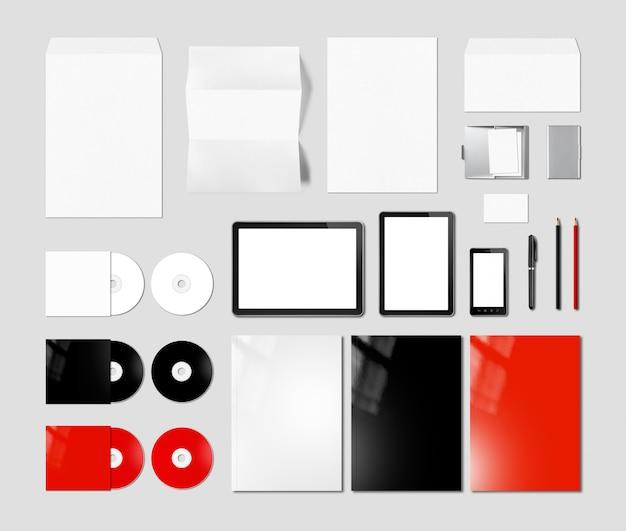 Branding identiteit ontwerp mockup sjabloon, grijze achtergrond