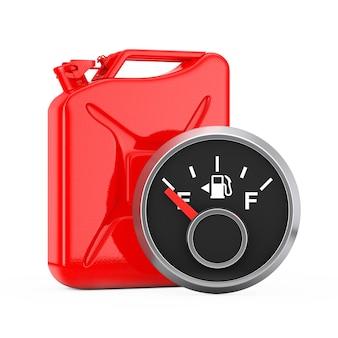 Brandstofdashboardmeter met een lege tank voor rode metalen jerrycan op een witte achtergrond. 3d-rendering