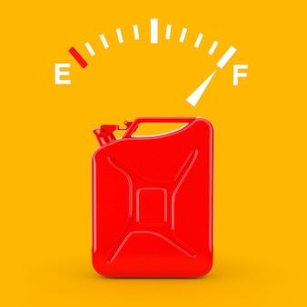 Brandstofdashboardmeterbord met een volle tank in de buurt van rode metalen jerrycan op een gele achtergrond. 3d-rendering