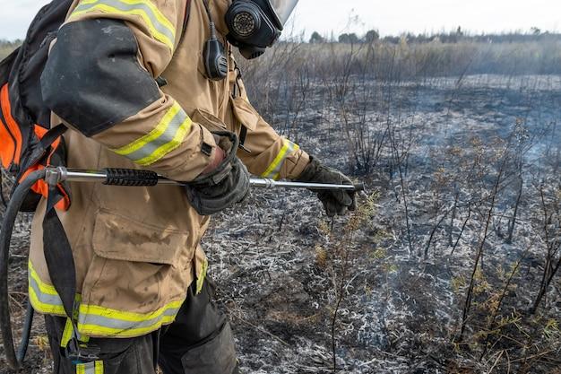 Brandweerlieden blussen bosbrand