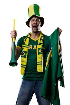 Braziliaanse fan vieren, op een witte ruimte.