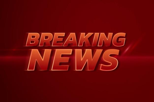 Breaking news 3d neon snelheid rode tekst typografie illustratie