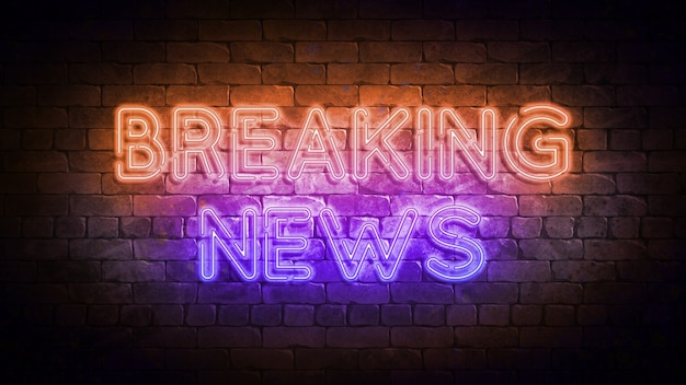 Breaking news neon teken 3d illustratie. breaking news design-neonreclame, lichtbanner, neonuithangbord, nachtelijke heldere reclame, lichte inscriptie. hoge kwaliteit foto