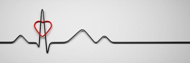 Brede banner met cardiologie hart gezondheid concept pulse lijn en rood hart vormen op witte achtergrond 3d illustratie