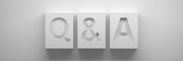 Brede banner met q- en a-brieven, vragen en antwoorden in grote witte blokjes. 3d illustratie.