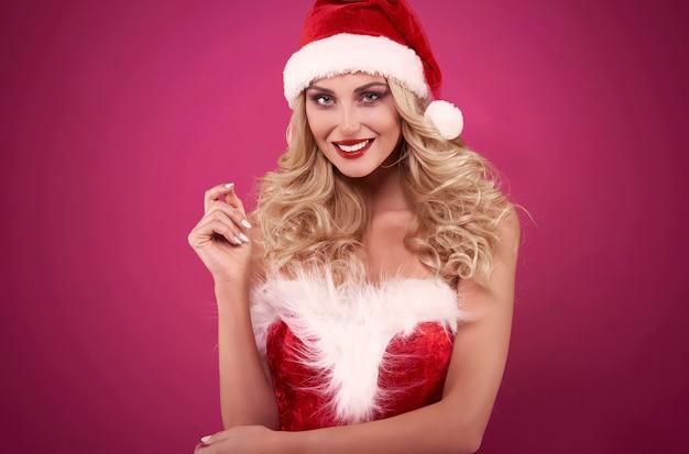 Brede brede glimlach van de kerstman