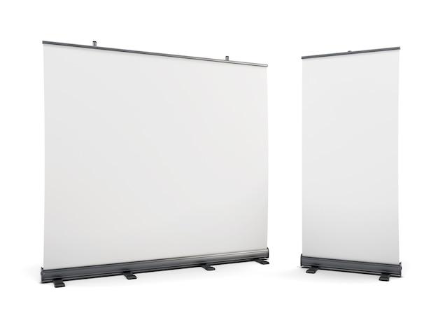 Brede draagbare reclamebanner en roll-up geïsoleerd op wit. 3d-weergave.