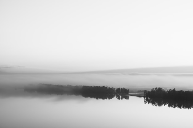 Brede mystieke rivier stroomt langs diagonale kust met silhouet van bomen en dikke mist in grijstinten. ochtend melkachtige sfeer. minimalistisch zwart-wit landschap van majestueuze aardachtergrond