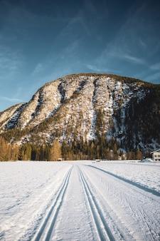 Brede opname van een groot deel van een bergketen omgeven door bomen en een brede weg bedekt met sneeuw