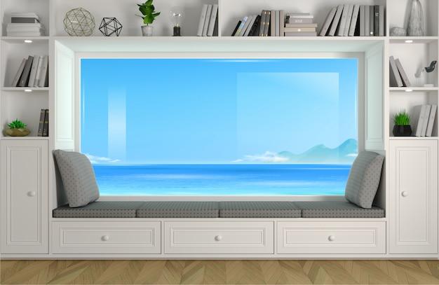Brede panoramische raambank in de kamer