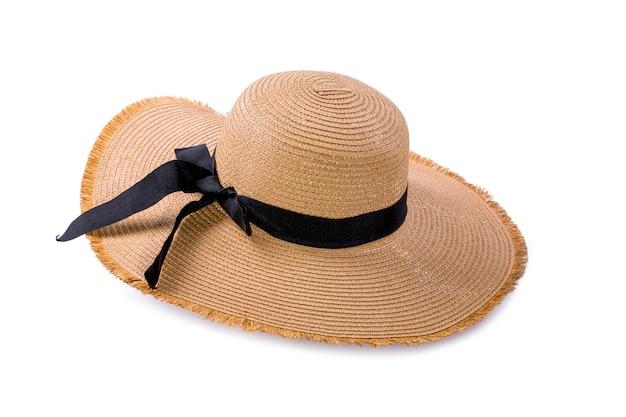 Brede rand vrouwelijke hoed op een wit