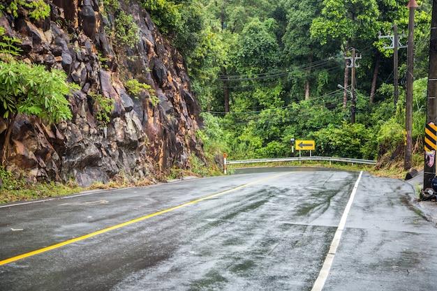 Brede weg in de tropen