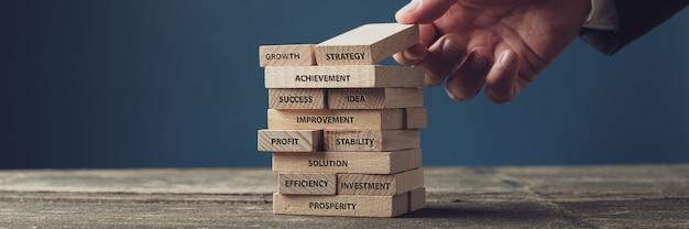Breed meningsbeeld van zakenman die houten pinnen met woorden van bedrijfsontwikkeling en succes stapelen die op hen worden geschreven.