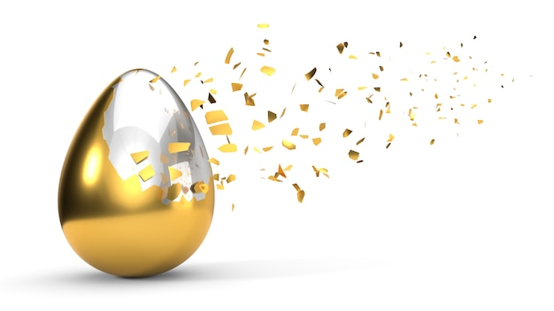 Breken van verf op ei. 3d illustratie, geïsoleerd op wit