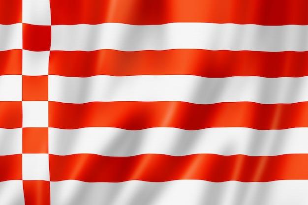 Bremen staatsvlag, duitsland zwaaiende banner collectie. 3d illustratie