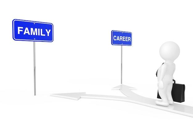 Breng uw levensconcept in evenwicht. zakenman person character op de arrow road keuze tussen carrière of familie op een witte achtergrond. 3d-rendering