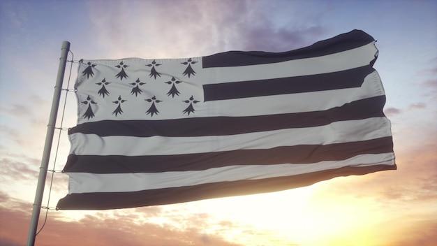 Bretagne vlag, frankrijk, zwaaien in de wind, lucht en zon achtergrond. 3d-rendering.